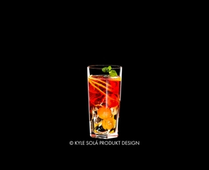 RIEDEL Tumbler Collection Louis Long Drink filled with a drink on a black background