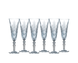 6 unfilled NACHTMANN Palais Taper Champagne Glasses on white background
