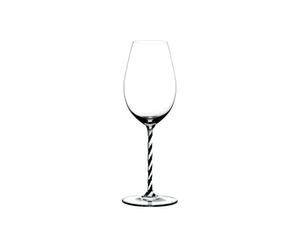 RIEDEL Fatto A Mano Champagne Wine Glass Black & White R.Q. on a white background