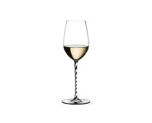 RIEDEL Fatto A Mano Riesling/Zinfandel Black & White R.Q. filled with a drink on a white background