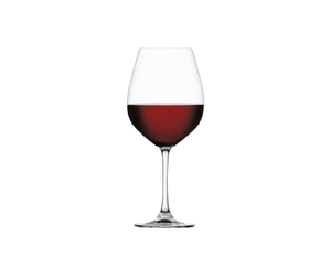 SPIEGELAU Salute Burgundy filled with a drink on a white background