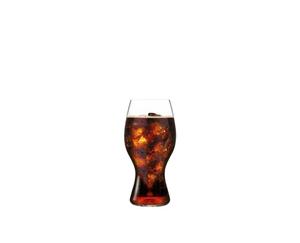 A RIEDEL O Wine Tumbler Coca-Cola to Go glass filled with Coca-Cola