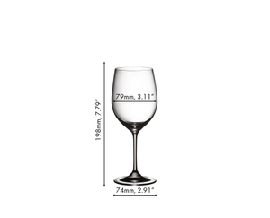 A RIEDEL Vinum Viognier/Chardonnay glass filled with white wine