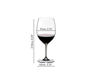 2 RIEDEL Vinum Brunello di Montalcino glasses side by side filled with red wine on white background