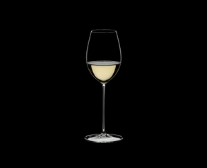 RIEDEL Superleggero Loire filled with a drink on a black background