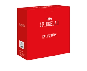 An unfilled SPIEGELAU Definition Bordeaux Glass on white background with product dimensions