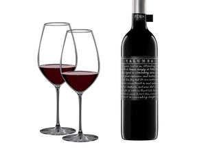 RIEDEL Veritas Cabernet Shiraz Yalumba 2+1 Gift Pack filled with a drink on a white background
