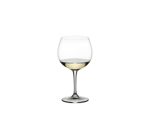 RIEDEL Restaurant Oaked Chardonnay filled with a drink on a white background