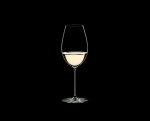 RIEDEL Veritas Restaurant Sauvignon Blanc filled with a drink on a black background