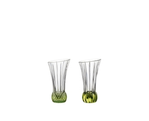 2 NACHTMANN Spring Vase Lime side by side. The upper part of the vase is clear crystal glass while the base is textured lime coloured crystal glass.