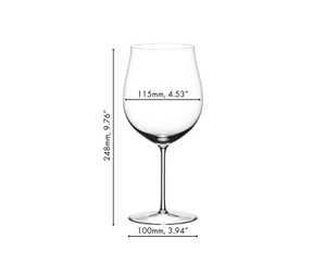 Unfilled RIEDEL Sommeliers Burgundy Grand Cru glass on white background with product dimensions