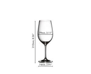 Unfilled RIEDEL Vinum Riesling glass on white background with product dimensions