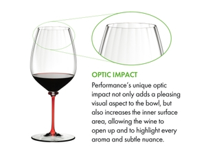 A RIEDEL Fatto A Mano Performance Cabernet Sauvignon glass with red stem fill with red wine on a white background.