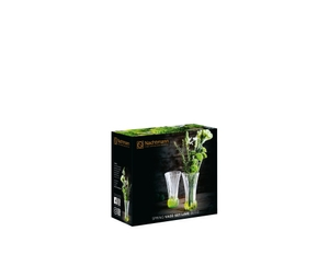 2 NACHTMANN Spring Vase Lime side by side on white background with product dimensions. The upper part of the vase is clear crystal glass while the base is textured lime coloured crystal glass.