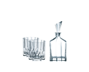 NACHTMANN Aspen Whiskey Set with 2 glasses and decanter on a white background