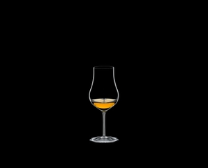 RIEDEL Sommeliers Cognac X.O. R.Q. Set/6 filled with a drink on a black background