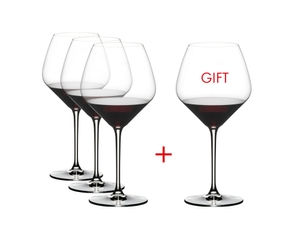 RIEDEL Extreme Pinot Noir filled with a drink on a white background