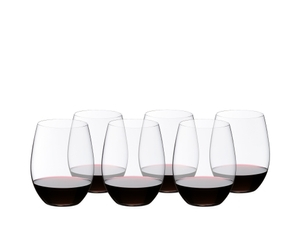 6 RIEDEL O Wine Tumbler Cabernet/Merlot filled with red wine stand in two rows staggered side by side