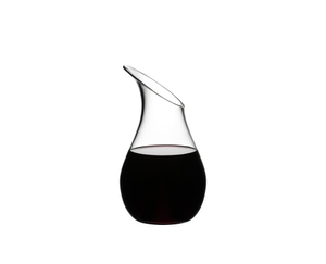 RIEDEL Decanter O Single R.Q. filled with a drink on a white background