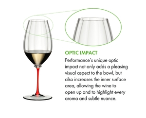 A RIEDEL Fatto A Mano Performance Riesling glass with red stem filled with white wine on a white background.