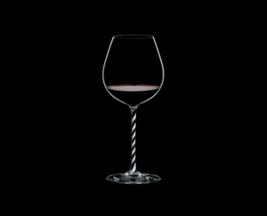 RIEDEL Fatto A Mano Pinot Noir Black & White R.Q. filled with a drink on a black background