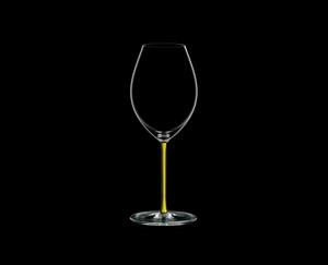 RIEDEL Fatto A Mano Syrah Yellow on a black background