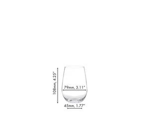RIEDEL O Wine Tumbler Riesling/Sauvignon Blanc filled with white wine on white background