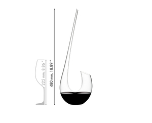 Red wine filled RIEDEL Swan Mini Decanter on white background with product dimensions. In the upper right corner is the RIEDEL Limited since 1756 sign.
