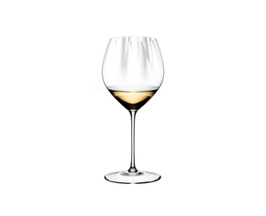 RIEDEL Performance Restaurant Chardonnay filled with a drink on a white background