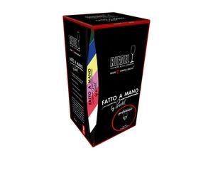 RIEDEL Fatto A Mano Performance Champagnerglas mit schwarzem Stiel in der Verpackung