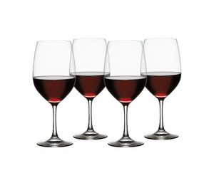 SPIEGELAU Vino Grande Bordeaux filled with a drink on a white background