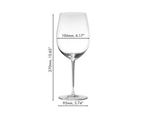 An unfilled RIEDEL Sommeliers Bordeaux Grand Cru glass on white background with product dimensions.