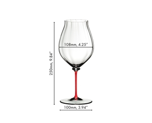 The optical blown glass of the RIEDEL Fatto A Mano Performance Pinot Noir glass with red stem is shown in zoom and explained textually.