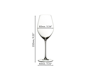 An unfilled RIEDEL Veritas Champagne Wine Glass on white background with product dimensions