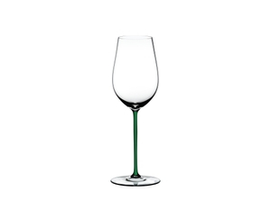 RIEDEL Fatto A Mano Riesling/Zinfandel Green on a white background
