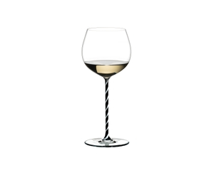 RIEDEL Fatto A Mano Oaked Chardonnay Black & White R.Q. filled with a drink on a white background