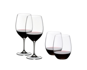 2 Vinum Cabernet glasses and 2 O Wine Tumbler Cabernet filled with red wine on white background
