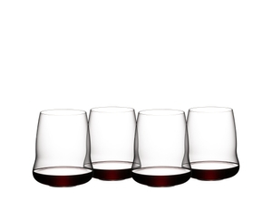 4 SL RIEDEL Stemless Wings Cabernet Sauvignon glasses filled with red wine on white background
