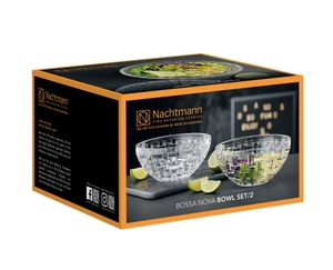 An empty Nachtmann Bossa Nova Bowl (18 cm / 7.07'') on white background with product dimensions
