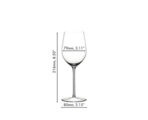 Unfilled RIEDEL Sommeliers Mature Bordeaux/Chablis/Chardonnay glass on white background with product dimensions