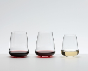 An unfilled SL RIEDEL Stemless Wings Pinot Noir/Nebbiolo tumbler on white background with product dimensions