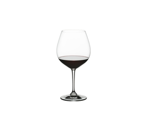 RIEDEL Restaurant Pinot Noir filled with a drink on a white background