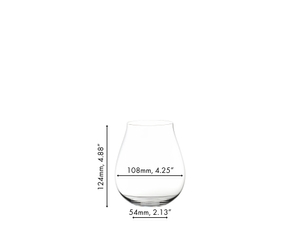 An unfilled RIEDEL Gin Contemporary tumbler on white background with product dimensions