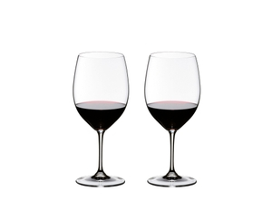 2 RIEDEL Vinum Brunello di Montalcino glasses side by side filled with red wine
