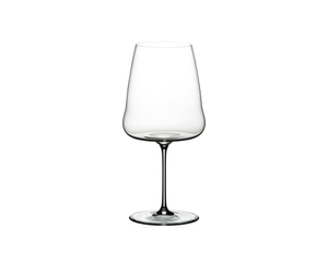 Unfilled RIEDEL Winewings Cabernet Sauvignon glass on white background