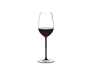 RIEDEL Fatto A Mano Riesling/Zinfandel Black filled with a drink on a white background
