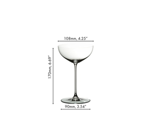 A RIEDEL Veritas Coupe/Cocktail filled with sparkling wine on a white background