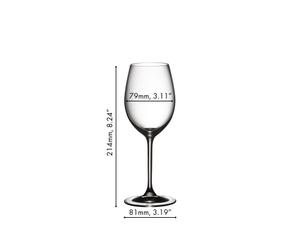 RIEDEL Vinum Sauvignon Blanc/Dessertwine filled with dessert wine on white background