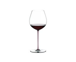 RIEDEL Fatto A Mano Pinot Noir Pink filled with a drink on a white background