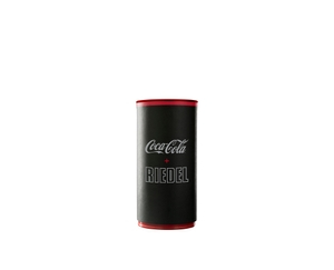 An unfilled RIEDEL O Wine Tumbler Coca-Cola to Go glass on white background with product dimensions.